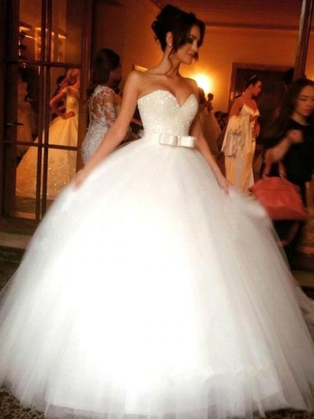 Ball Gown Sleeveless Sweetheart Floor-Length Bowknot Tulle Wedding Dresses