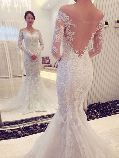 Trumpet/Mermaid Long Sleeves Off-the-Shoulder Sweep/Brush Train Lace Wedding Dresses