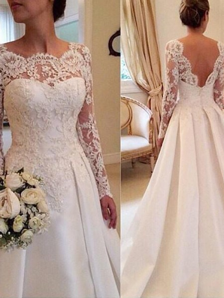 Ball Gown Scoop Long Sleeves Court Train Lace Satin Wedding Dresses