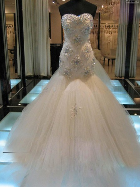 Trumpet/Mermaid Sweetheart Sleeveless Court Train Beading Tulle Wedding Dresses