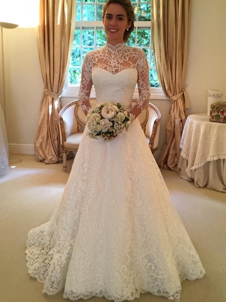 Ball Gown Long Sleeves High Neck Court Train Lace Lace Wedding Dresses