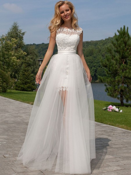 Sheath/Column Sleeveless Scoop Floor-Length Lace Tulle Wedding Dresses