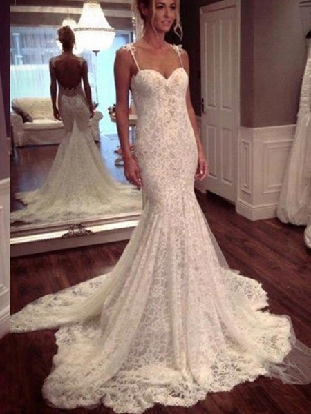 Trumpet/Mermaid Spaghetti Straps Sleeveless Court Train Lace Lace Wedding Dresses