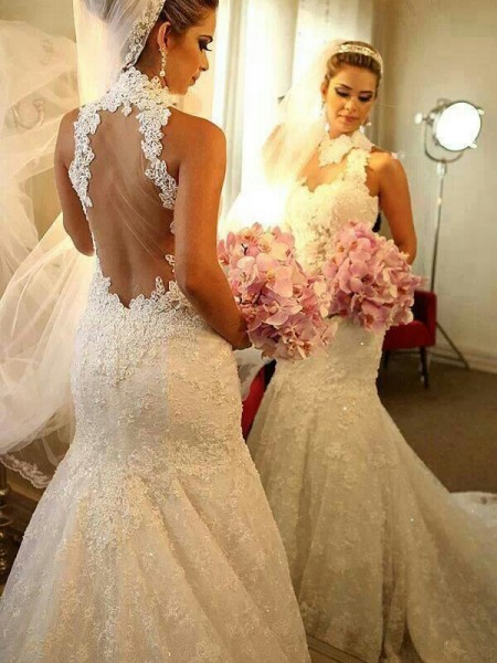 Trumpet/Mermaid Sleeveless High Neck Court Train Lace Lace Wedding Dresses