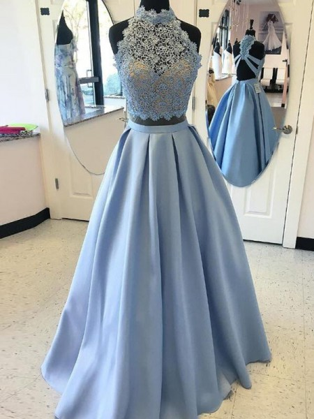 Ball Gown Sleeveless High Neck Floor-Length Applique Satin Two Piece Dresses