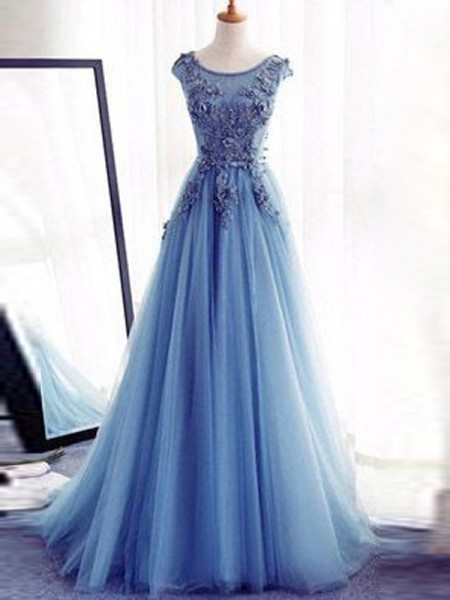 Ball Gown Jewel Sleeveless Floor-Length Applique Tulle Dresses