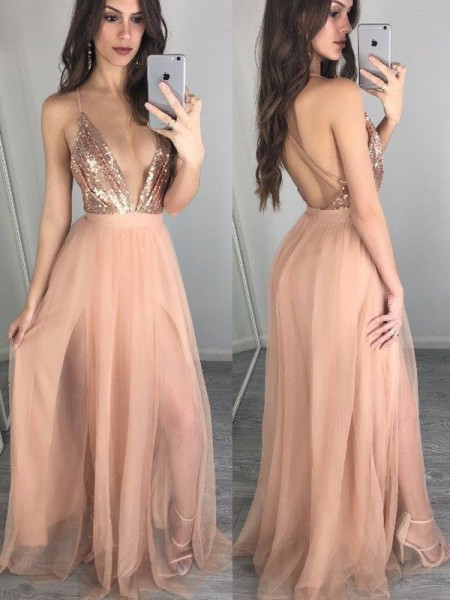 A-Line/Princess Spaghetti Straps Sleeveless Floor-Length Sequin Chiffon Dresses