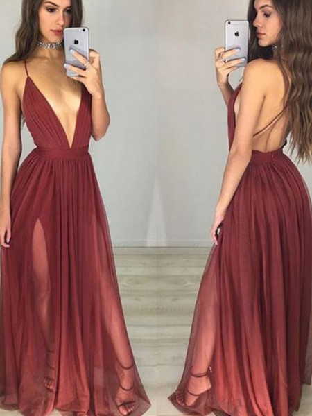 A-Line/Princess Spaghetti Straps Sleeveless Floor-Length Ruched Chiffon Dresses