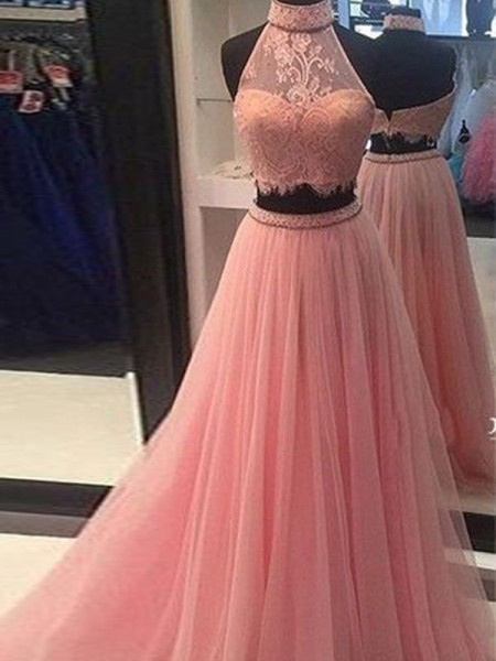 A-Line/Princess Sleeveless High Neck Floor-Length Lace Tulle Two Piece Dresses