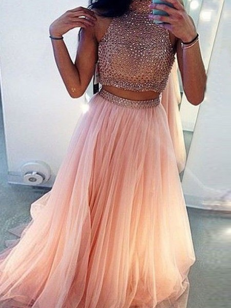 A-Line/Princess Sleeveless High Neck Sweep/Brush Train Beading Tulle Two Piece Dresses