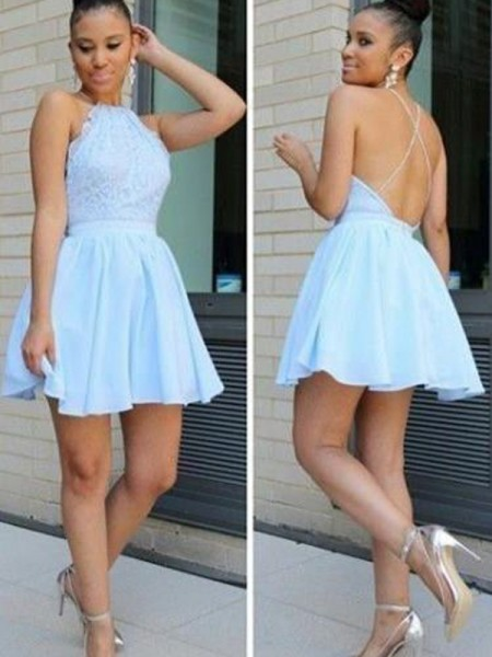A-Line/Princess Sleeveless Halter Short/Mini Lace Chiffon Dresses