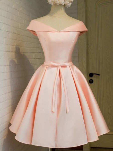 A-Line/Princess V-neck Sleeveless Short/Mini Sash/Ribbon/Belt Satin Dresses