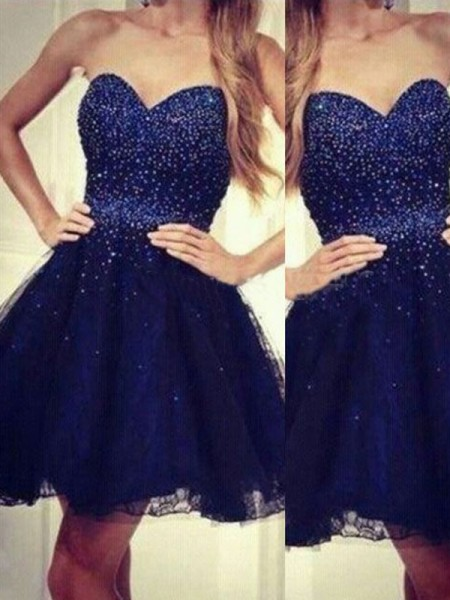 A-Line/Princess Sweetheart Sleeveless Short/Mini Beading Tulle Dresses
