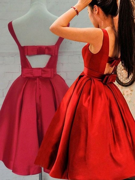 A-Line/Princess Scoop Sleeveless Short/Mini Sash/Ribbon/Belt Satin Dresses