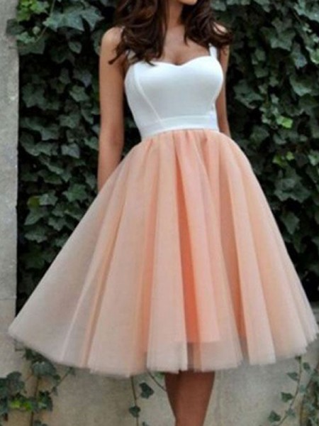 A-Line/Princess Sleeveless Sweetheart Short/Mini Tulle Dresses