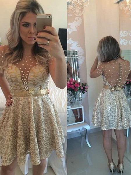 A-Line/Princess Sleeveless Scoop Short/Mini Sequin Satin Dresses