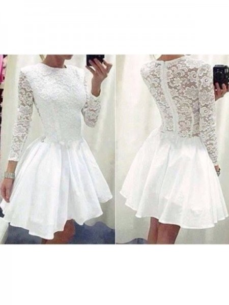 A-Line/Princess Long Sleeves Scoop Short/Mini Lace Chiffon Dresses