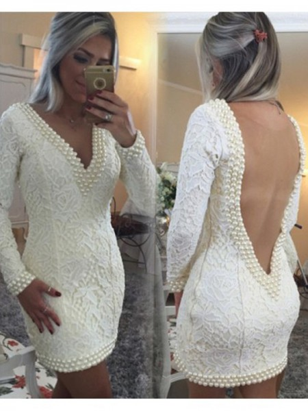A-Line/Princess V-neck Long Sleeves Short/Mini Pearls Lace Dresses