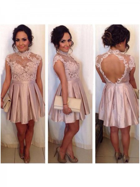 A-Line/Princess Sleeveless High Neck Short/Mini Lace Satin Dresses