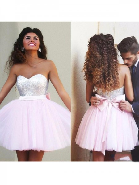 A-Line/Princess Sleeveless Sweetheart Short/Mini Beading Tulle Dresses