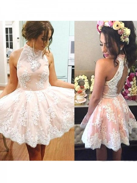 A-Line/Princess High Neck Sleeveless Short/Mini Lace Dresses