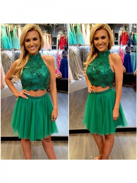 A-Line/Princess High Neck Sleeveless Short/Mini Beading Tulle Two Piece Dresses