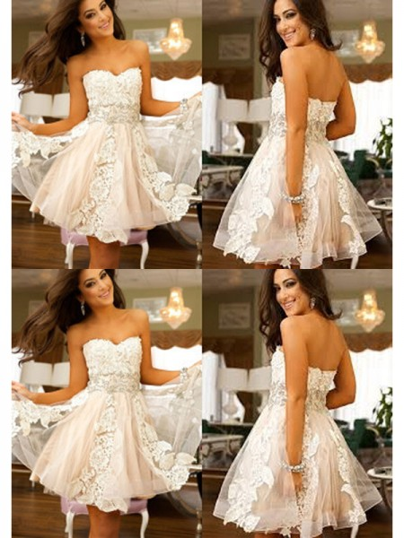 A-Line/Princess Sweetheart Sleeveless Short/Mini Applique Tulle Dresses