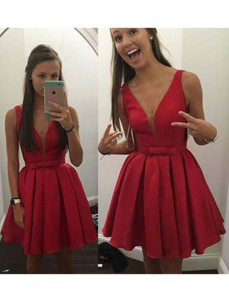 A-Line/Princess Sleeveless V-neck Short/Mini Bowknot Satin Dresses