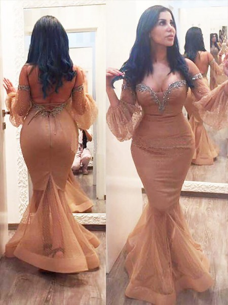 Trumpet/Mermaid Off-the-Shoulder 3/4 Sleeves Floor-Length Beading Silk like Satin Plus Size Dresses