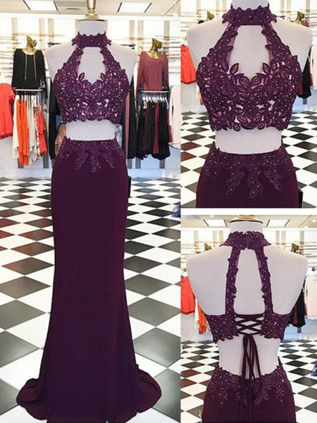 Sheath/Column Sleeveless Halter Floor-Length Applique Chiffon Two Piece Dresses