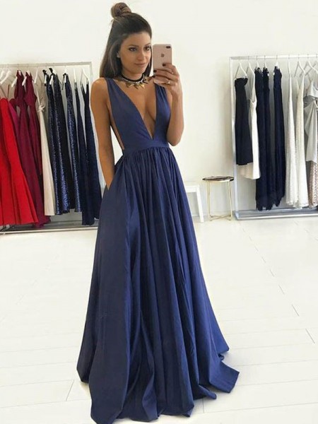 A-Line/Princess Sleeveless V-neck Floor-Length Taffeta Dresses