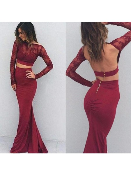 Trumpet/Mermaid Bateau Long Sleeves Floor-Length Applique Spandex Dresses