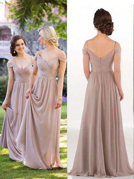 A-Line/Princess Spaghetti Straps Sleeveless Floor-Length Chiffon Bridesmaid Dresses