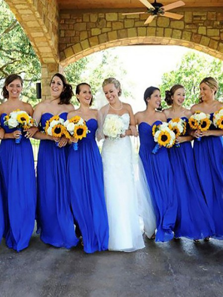 A-Line/Princess Sleeveless Floor-Length Sweetheart Chiffon Bridesmaid Dresses
