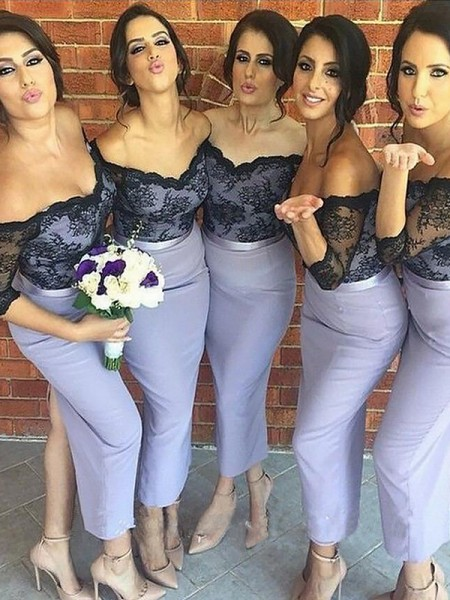 Trumpet/Mermaid Lace Silk like Satin 1/2 Sleeves Off-the-Shoulder Ankle-Length Bridesmaid Dresses