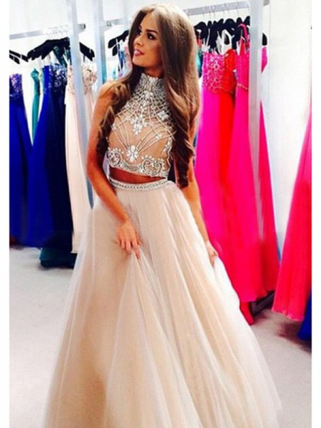 A-Line/Princess High Neck Sleeveless Floor-Length Beading Tulle Two Piece Dresses