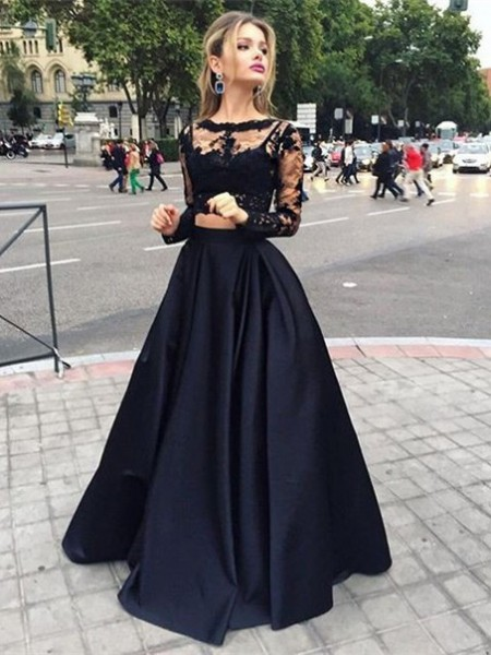 Ball Gown Long Sleeves Bateau Floor-Length Beading Satin Dresses
