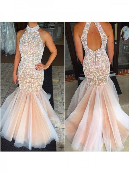 Trumpet/Mermaid Sleeveless Halter Floor-Length Beading Tulle Dresses