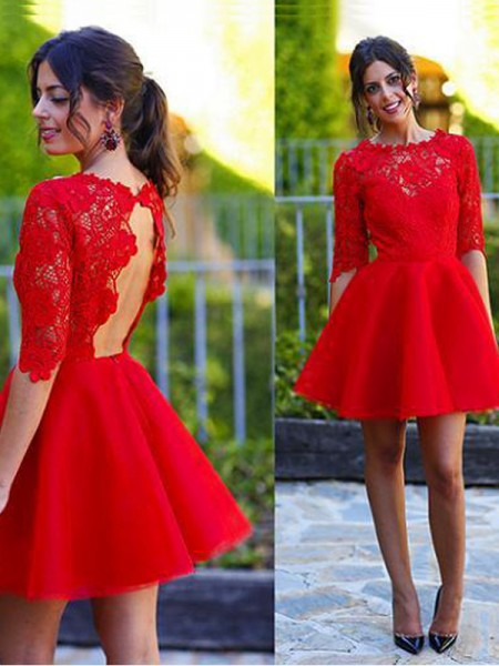 A-Line/Princess 1/2 Sleeves Scoop Short/Mini Lace Lace Dresses