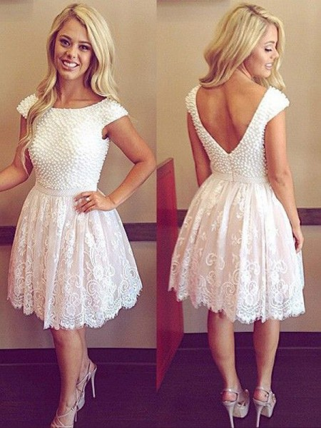 A-Line/Princess Short Sleeves Scoop Short/Mini Pearls Lace Dresses