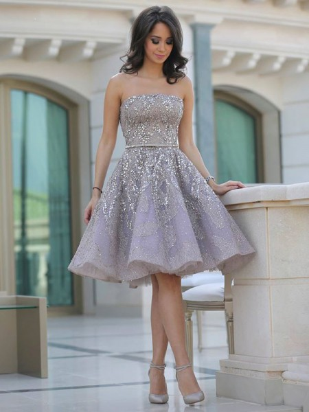 A-Line/Princess Strapless Sleeveless Knee-Length Sequin Satin Dresses