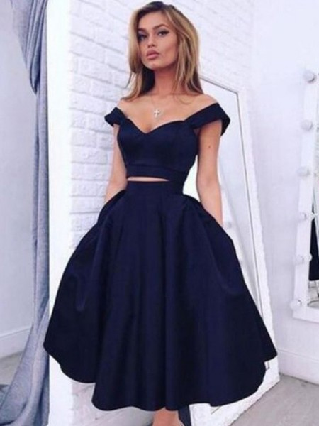 A-Line/Princess Sleeveless Off-the-Shoulder Knee-Length Taffeta Two Piece Dresses
