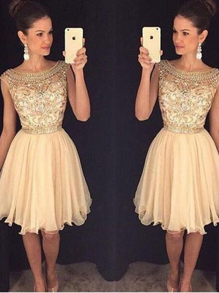 A-Line/Princess Sleeveless Scoop Short/Mini Beading Chiffon Dresses