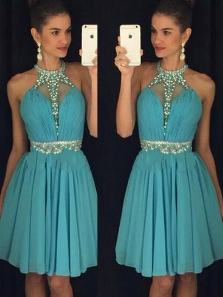 A-Line/Princess Halter Sleeveless Short/Mini Beading Chiffon Dresses