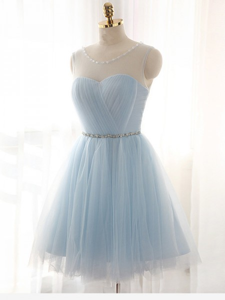 A-Line/Princess Sleeveless Scoop Short/Mini Beading Tulle Dresses