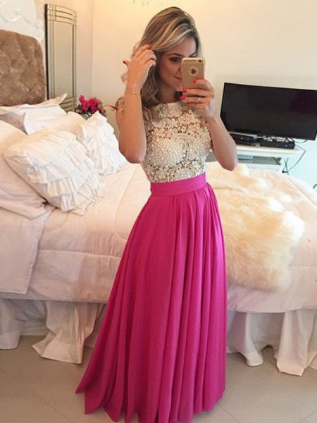 A-Line/Princess Sleeveless Scoop Floor-Length Lace Chiffon Dresses