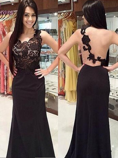 Sheath/Column Sleeveless Scoop Floor-Length Lace Chiffon Dresses