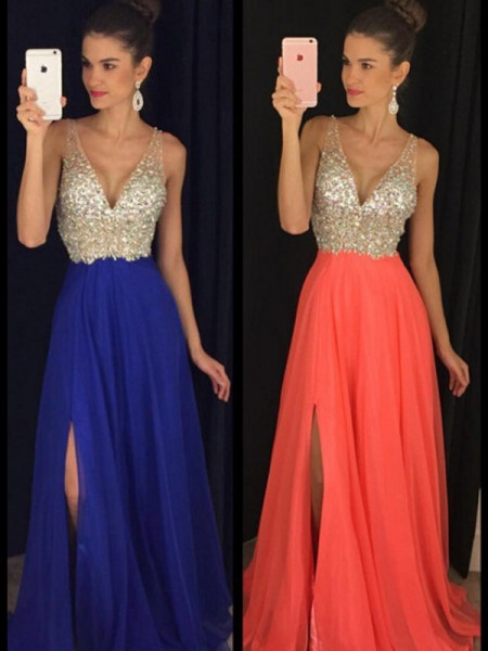 A-Line/Princess V-neck Sleeveless Floor-Length Beading Chiffon Dresses