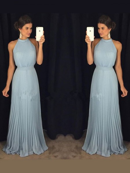 A-Line/Princess High Neck Sleeveless Floor-Length Pleats Chiffon Dresses