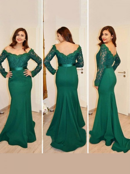 Trumpet/Mermaid Off-the-Shoulder Long Sleeves Floor-Length Applique Satin Dresses